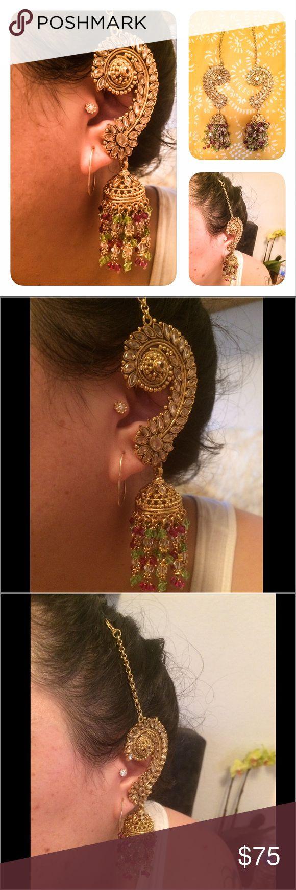 Gorgeous Indian Ear Cuff Statement Earrings