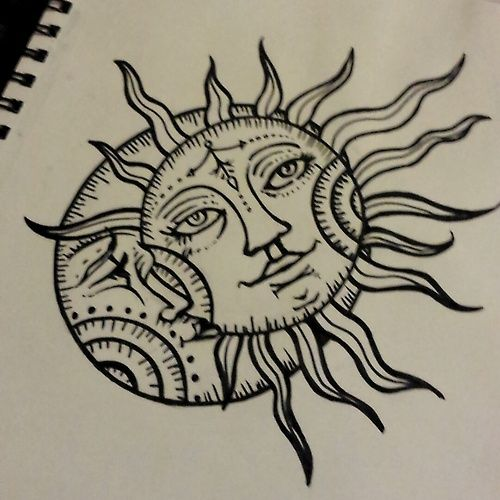 sun drawing tattoo moon design