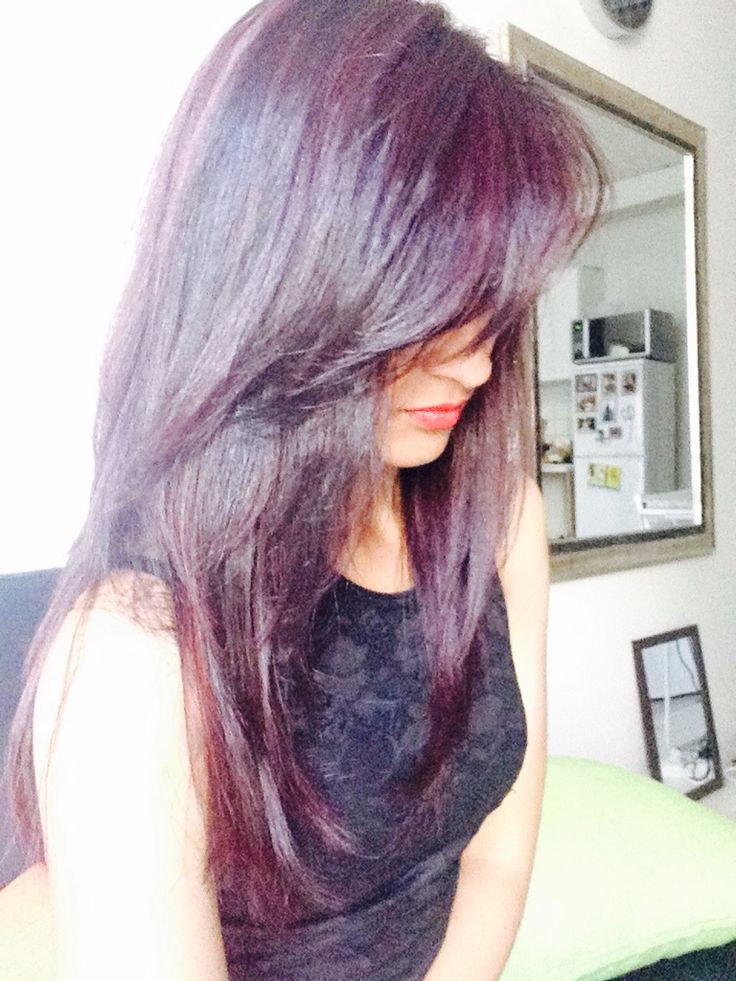 Hair colour - When my hair was all long and pretty. Dyed it a plum color