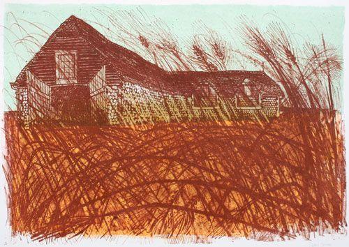 Tithe Barn and Grasses 40/50 by Robert Tavener