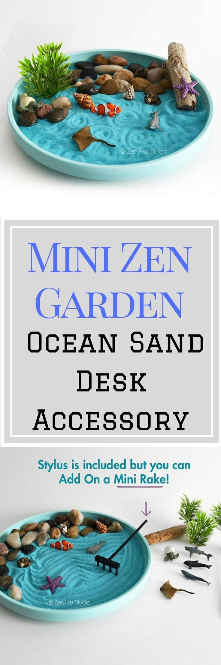 Miniature desktop zen garden featuring mini ocean figurines! With this  DIY Zen Kit you can create your own little ocean scene. Leave just the  sand or arrange the pebbles in the sand to create a little beach for the  driftwood and sea shells. Create designs in the sand with the stylus  and arrange the miniatures any way you like! Perfect gift for coworkers, loved ones, or yourself! Mini Zen Garden // Ocean  Sand Garden Desk Accessory // DIY Kit // Driftwood Beach Tabletop  Decor #ad…