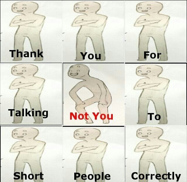 "Yall don't understand how much I hate these ""how to talk to short people memes"", they're just another offensive thing in a world of rude people. Seriously, just talk to short people with good posture without bending down. It's just rude."
