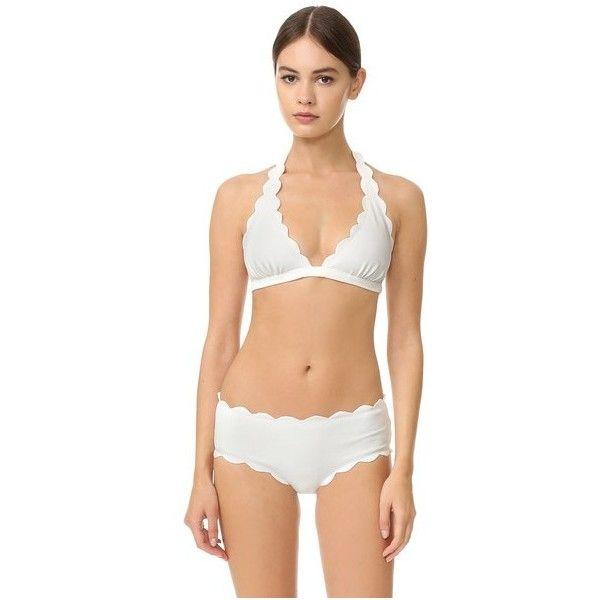 Marysia Swim Spring Scalloped Bikini Top ($150) ❤ liked on Polyvore featuring swimwear, bikinis, bikini tops, coconut, scalloped swim top, scalloped swimwear, swim suit tops, tankini tops and scalloped bikini top