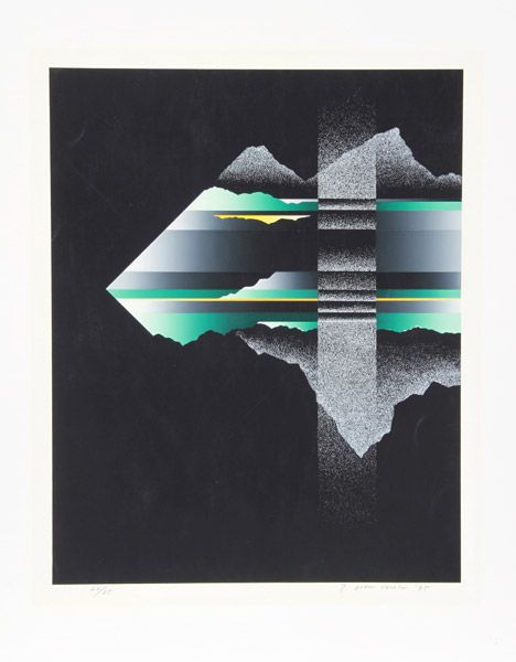 Tetsuro Sawada, Japanese (1933 - 1998) Title: Skyscape I Year: 1975 Medium: Silkscreen, signed and numbered in pencil Edition: 22/35 Image Size: 20.5 x 16.5 inches Size: 27 in. x 21.5 in. (68.58 cm x 54.61 cm)