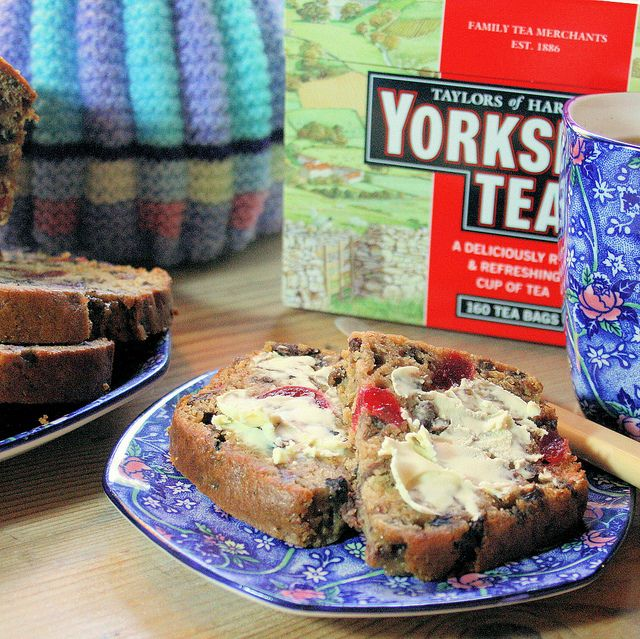 Yorkshire Tea (my fave), a sweet tea cosy, and Yorkshire Tea fruit loaf for afternoon tea..  Now that's my cup of tea! ;-)