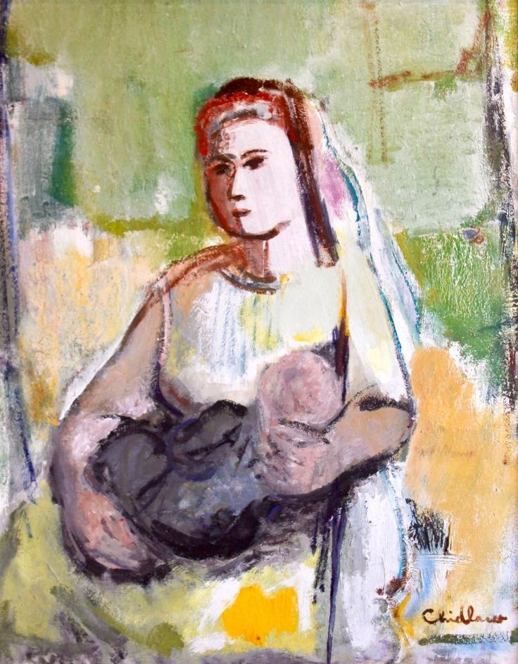 """Paul Chidlaw (1900-1989), """"Mother and Child"""", Original oil painting"""