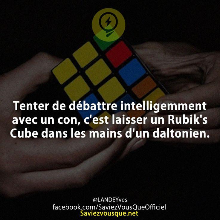 Tenter de débattre intelligemment avec un con, c'est laisser un Rubik's Cube dans les mains d'un daltonien.