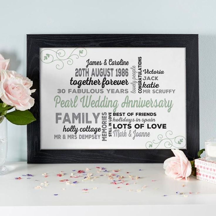 If you are searching for a unique pearl wedding anniversary gift for the happy couple, try making a personalised word art print or canvas. See your design come to life as you type with instant previews. All orders shipped in just 2 working days with free UK delivery