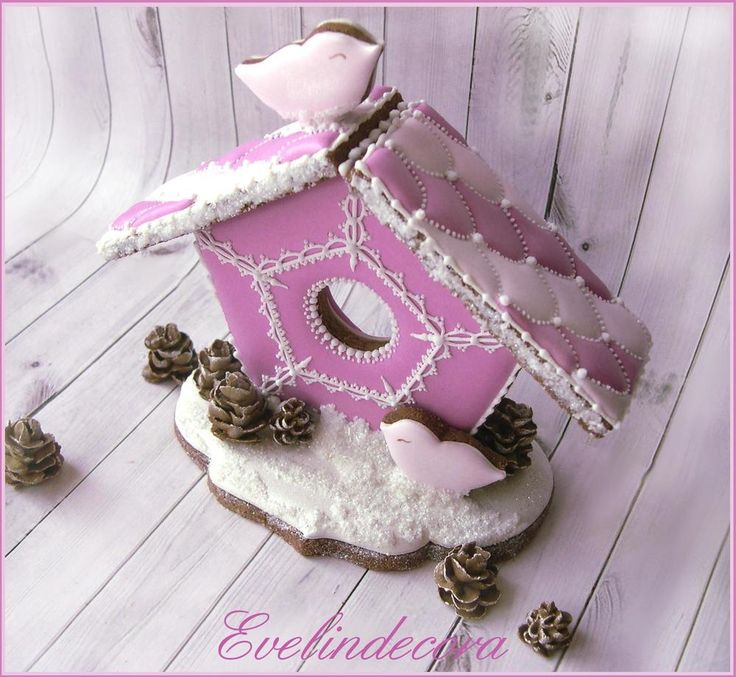 Christmas cookie: pink birdhouse  Snow and icy lace on winter pink 3D gingerbread birdhouse by EvelinDecora