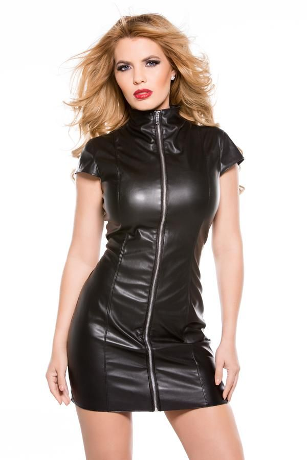 Rule the night in this sexy High Neck Faux Leather Dress from Allure  featuring a high neck design 1b87a7b02129