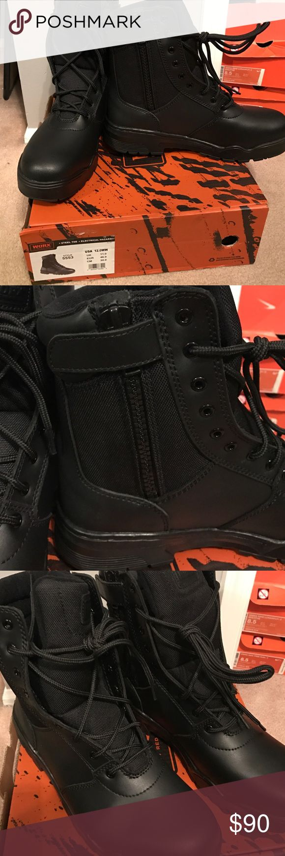 """Black Steel Toe Boots - Worx by Red Wing Shoes Black steel toe boots with inside zip! New with box, never worn--perfect condition! Brand is """"Worx by Red Wing Shoes."""" Style 5553. Size 12.0WW. If you're familiar with Red Wing, you know this is the brand to own. Boots possess steel toe. Electrical hazard sole and heel designed to reduce injury due to contact with electrically energized parts. Red Wing Shoes Shoes Boots"""
