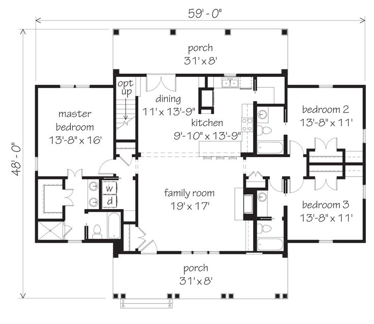 Nice plan remove bath from bedroom 2 and expand the for House plans designed for future expansion