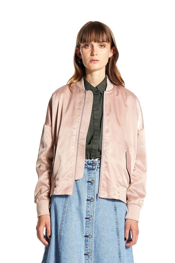 NEUW - Satin Bomber Jacket Dirty Pink