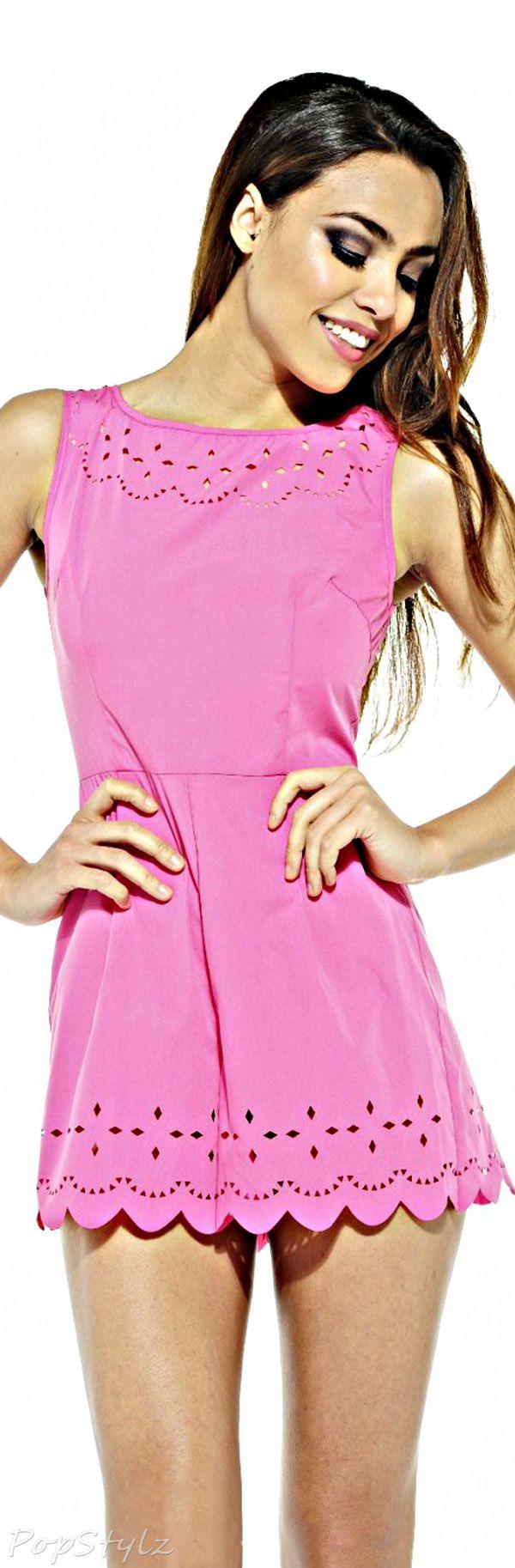 AX Paris Pink Laser Cut Romper Dress