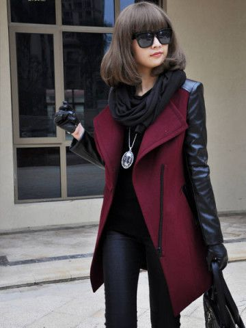 Europe Zipper Spell Leather Sleeve Long Thick Coats Free Shipping! - US$33.79