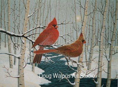 Bird Print Cardinals Wildlife Art Nature by DougWalpusArtStudio, $12.00