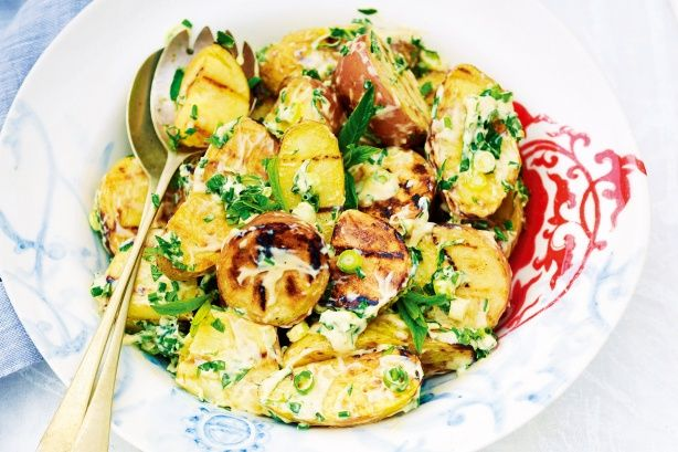 Barbecued potato salad with herbs & mayonnaise