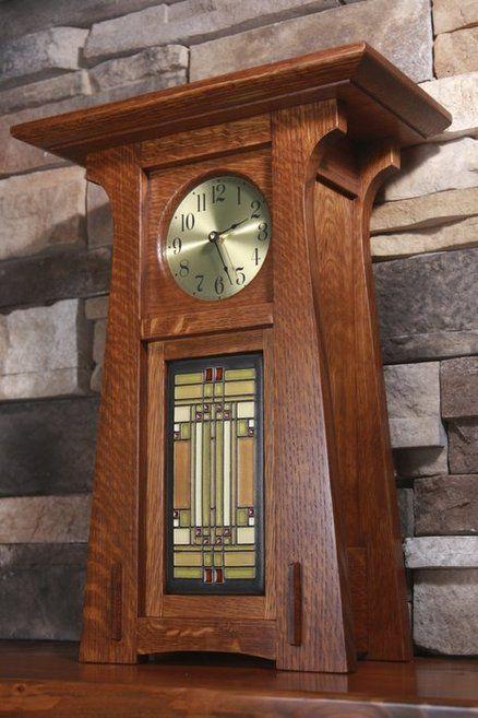 Handmade Craftsman style clock utilizing a Motawi Tile