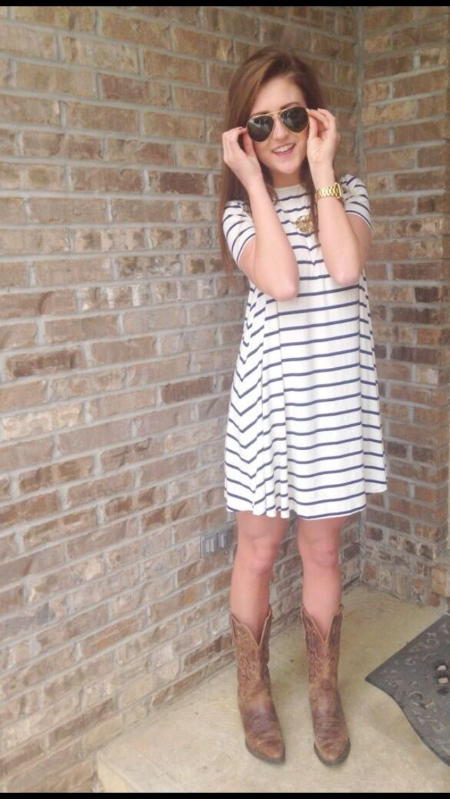 aviators, cotton striped dress, cowboy boots