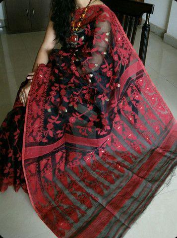 Black and Red Bangladeshi jamdani saree