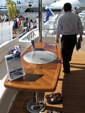 TEPANYAKI GRILL round, built-into teak yacht table - MO60 Teppanyaki Grill Cook Top by cookndine