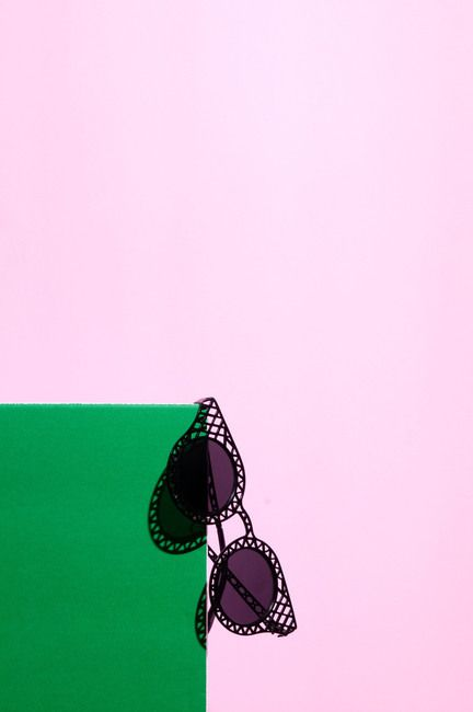 Pair of mesh cat eye sunglasses still life