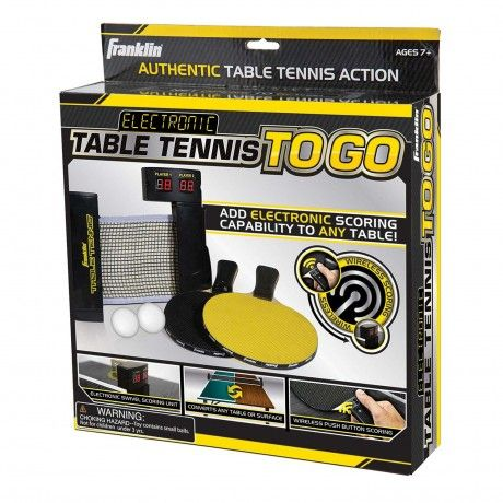 Electronic Table Tennis To Go - Add electronic scoring capability to any table with Electronic Table Tennis To Go and never lose track of score again with wireless paddle controls. Set includes (2) wireless paddles and (2) 1 star balls. - See more at: http://franklinsports.com/shop/electronic-table-tennis-to-go