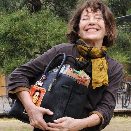 Jane Birkin with the Birkin Hermés bag, named after her