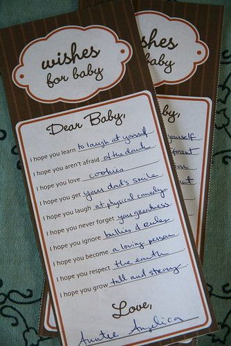 "baby shower game idea...used this and it was a big hit! I changed it to ""Prayers for Baby"". Gave each guest a card with one blank to fill in...so they didn't have to do as much thinking. Some people filled out multiple cards. Then I put them all together and made a little book out of them. Very neat!!"