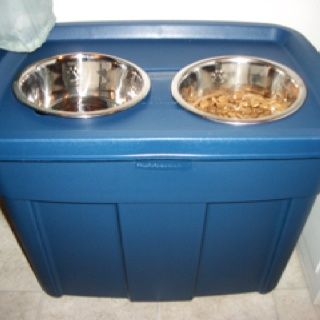 I made this today after shopping for a elevated dog feeder for my Great Dane. Online they run $30+ and some of them dont have a storage area for the food. If you dont mind not having the designer look, the container (18 gallon tote) was $7@ Walmart, the food bowl also @ Walmart were $3 each. Now I dont have to find a place for the dog food bag, my Dane can reach her food without straining and I still have green in the pocket book!
