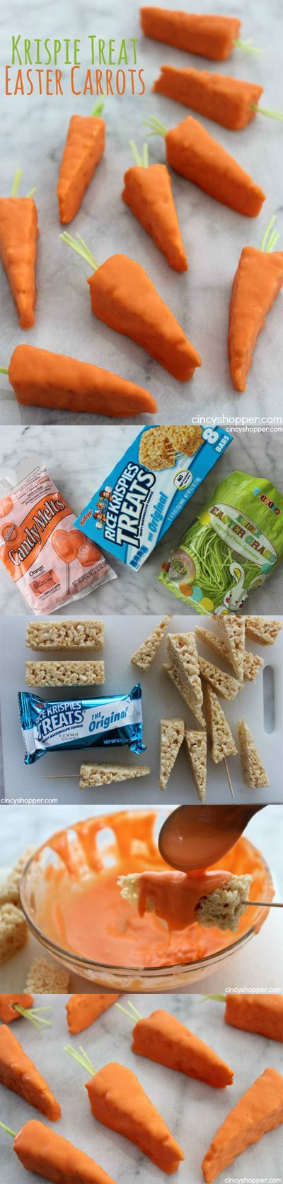 Krispie Treat Easter Carrots- Super easy Easter treats using store bought Krispie Treats. Great last minute Easter snack. Perfect for dessert or to wrap for Easter baskets.