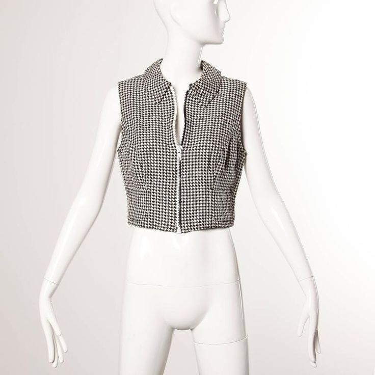 Gianni Versace Vintage 1990s 90s Black + White Houndstooth Sporty Vest Jacket