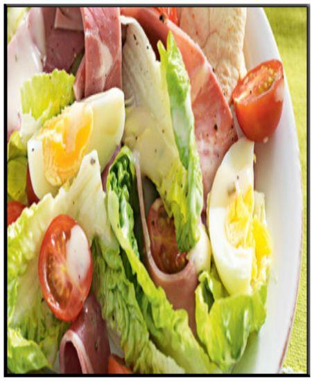 Ham & Egg salad   http://www.ibssanoplus.com/low_fodmap_ham_egg_salad.html