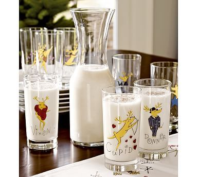 Reindeer Glasses, Mixed Set of 4 #potterybarn