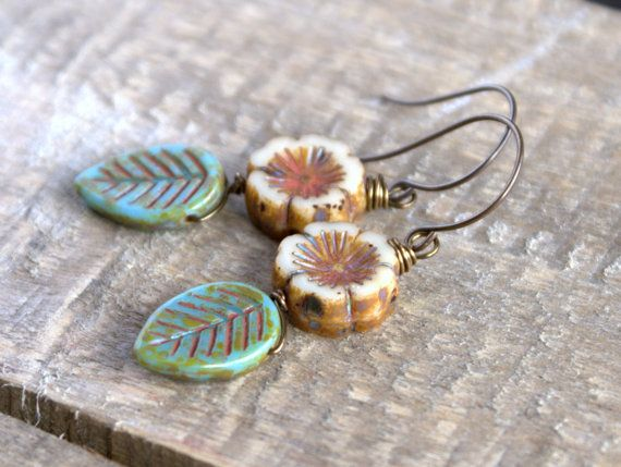 Spring Inspired Czech Glass Leaf & Flower Earrings. Rustic Czech Picasso Beads. Nature Jewelry.