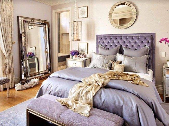 violet Hollywood Regency bedroom With big mirroa on the wall