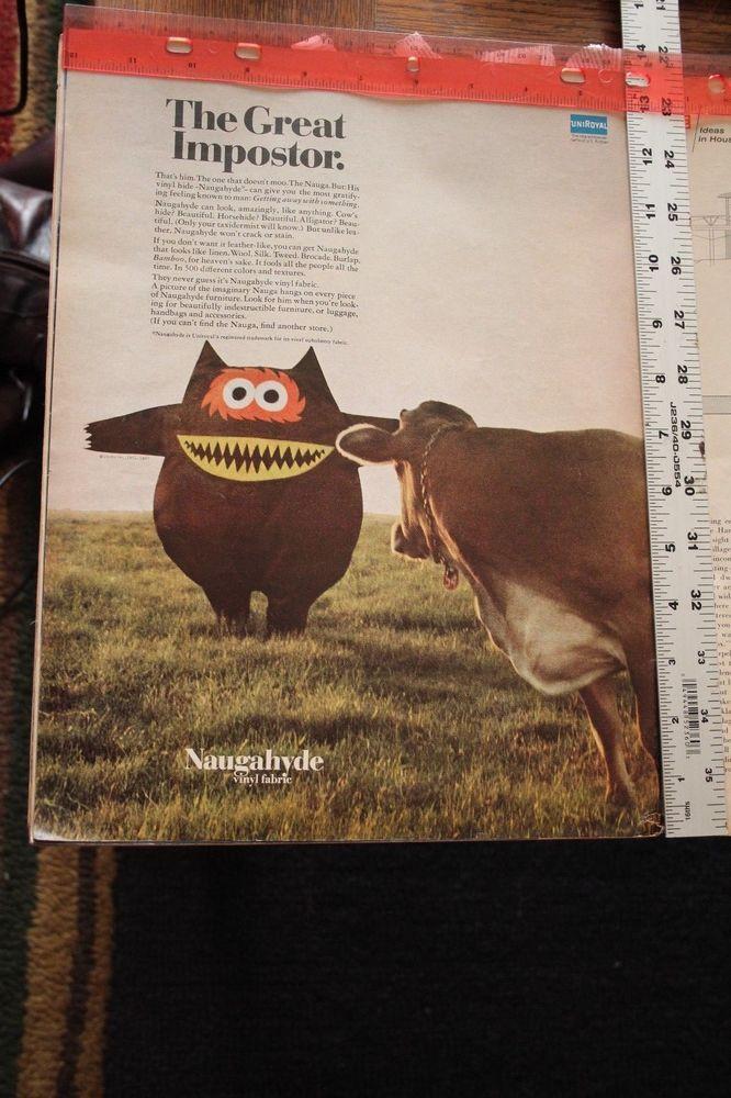 vintage magazine ad advertising print 1968 NAUGAHYDE THE GREAT IMPOSTER  #MMs