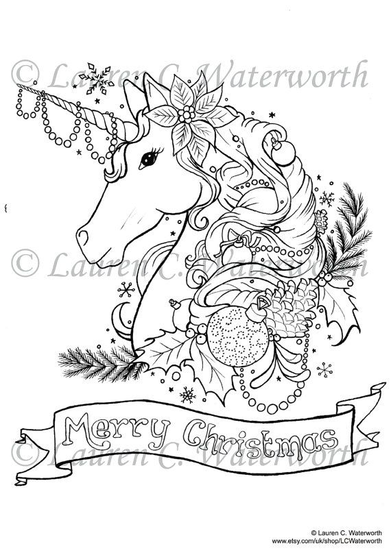 INSTANT DOWNLOAD Adult Colouring Page 'Christmas Unicorn