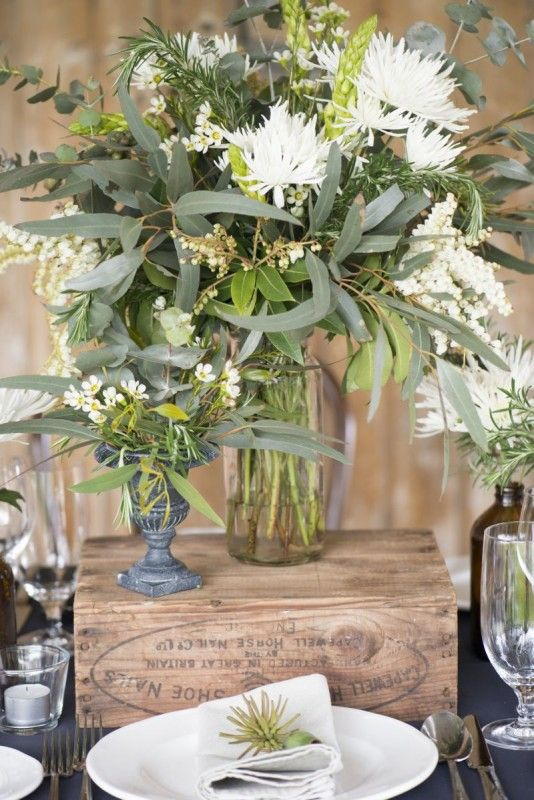 IGBY Australian wedding native florals, gum leaves, rustic, navy and bentwood chairs