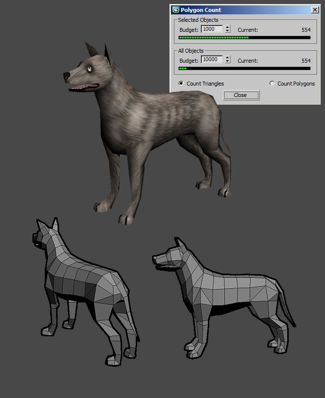 Low poly dog by Tucho (Polycount)
