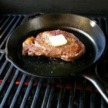 The best steak restaurant steak isn't grilled, it's pan fried. Yes, what you need is a flaming hot, heavy, cast iron skillet. You'll also need a hot grill (or oven), a good steak, butter, salt, pepper, herbs and a meat thermometer. Page 7.