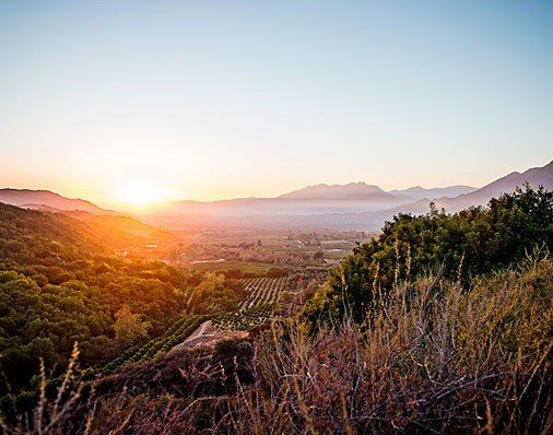 The sunset view over the Ojai Valley from Meditation Mount, a nonprofit meditation center set amid acres of gardens.