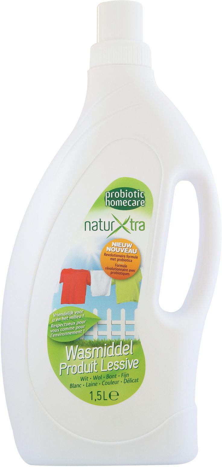 NaturXtra Probiotische Wasmiddel is een vloeibaar, supergeconcentreerd, biologisch afbreekbaar wasmiddel, verrijkt met probiotica (minimaal 50 miljoen micro-organismen per ml). NaturXtra Wasmiddel is geschikt voor elk type was: witte was, wolwas, bonte en fijne was. Actief tussen 30 en 60 graden. NaturXtra Wasmiddel garandeert een diepgaande microscopische reiniging en verwijdert onaangename geurtjes. Voor fris en gezond wasgoed!
