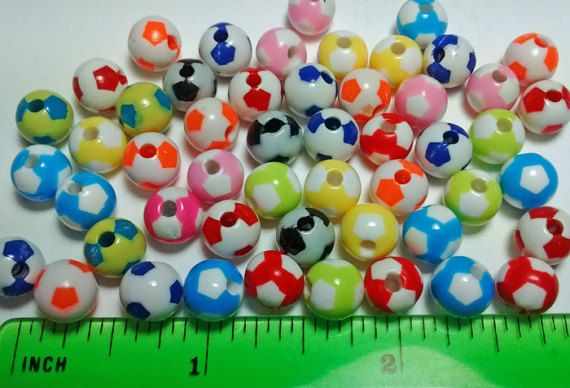 Sale 50 Plastic Soccer Ball Beads  Crafts Jewelry by FrancisRoyal
