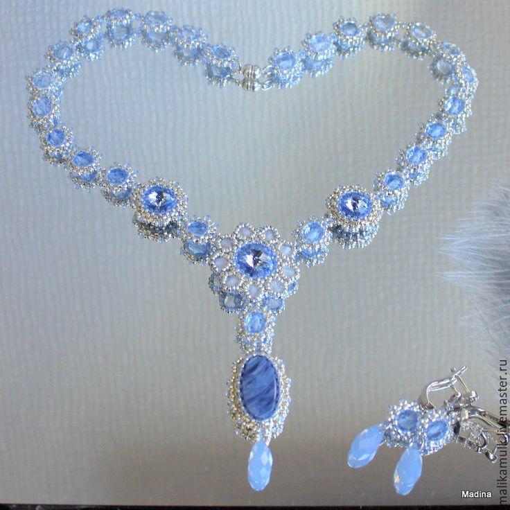 """Купить колье ожерелье бусы """"Blue shadow"""" с кристаллами Сваровски - серебряный, Элегантное украшение"""