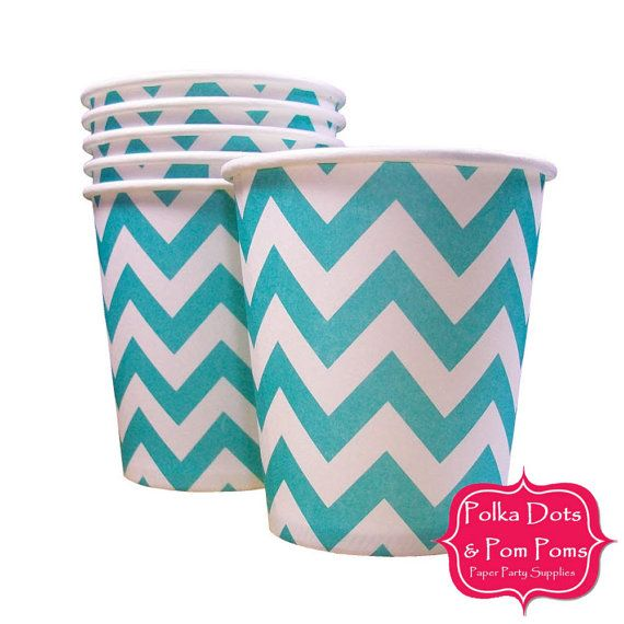Disposable Paper Tableware / SMALL CUPS 200ml / AQUA Chevron / Pk 20 / Kids Party Supplies / Wedding / Baby Shower