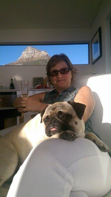 My wife Vaughan 'smug with a Pug'
