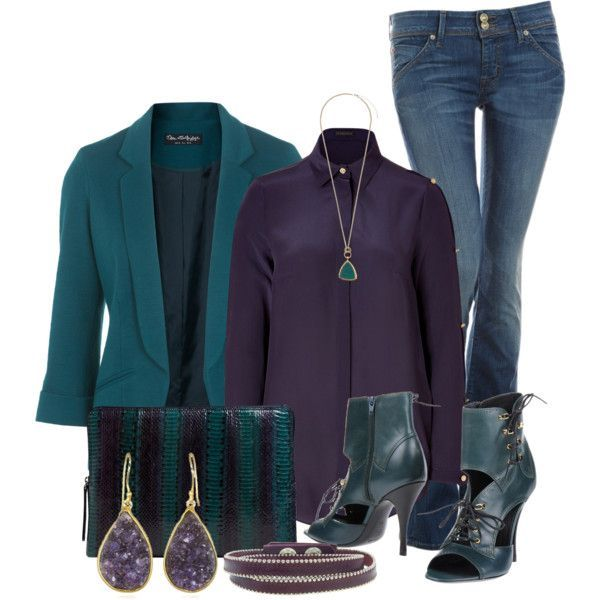 """Teal and Purple"" by lisamoran on Polyvore"
