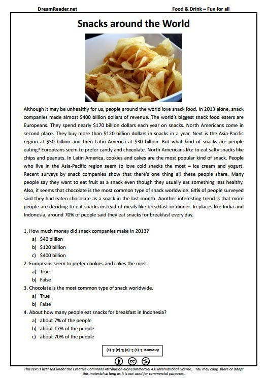 Free ESL worksheet about snacks around the world. http://dreamreader.net/wp-content/uploads/2014/12/Snacks-FFA-Food-PDFReading.pdf