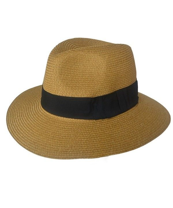47d76386d F019 Unisex Straw Fedora Trilby Packable Travel Sun Hat Brown ...